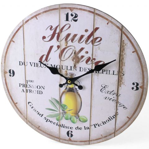 Olive Oil 42713 - Large Rustic Retro Kitchen Wall Clock 34cm